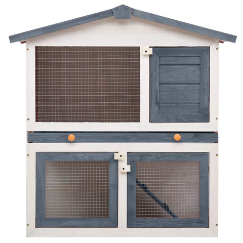 Image of Outdoor Rabbit Hutch 3 Doors Grey Wood High Quality Solid Pine Wood Frame Everyday Pets