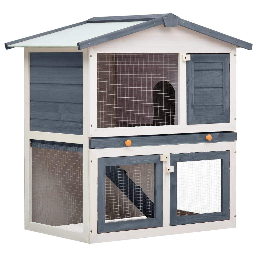 Outdoor Rabbit Hutch 3 Doors Grey Wood Everyday Pets