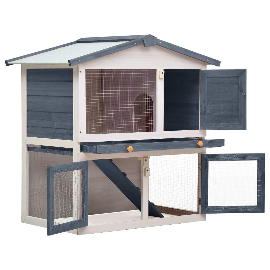 Outdoor Rabbit Hutch 3 Doors Grey Wood Easy Clean and Lock with Slide Bolt Latches Everyday Pets