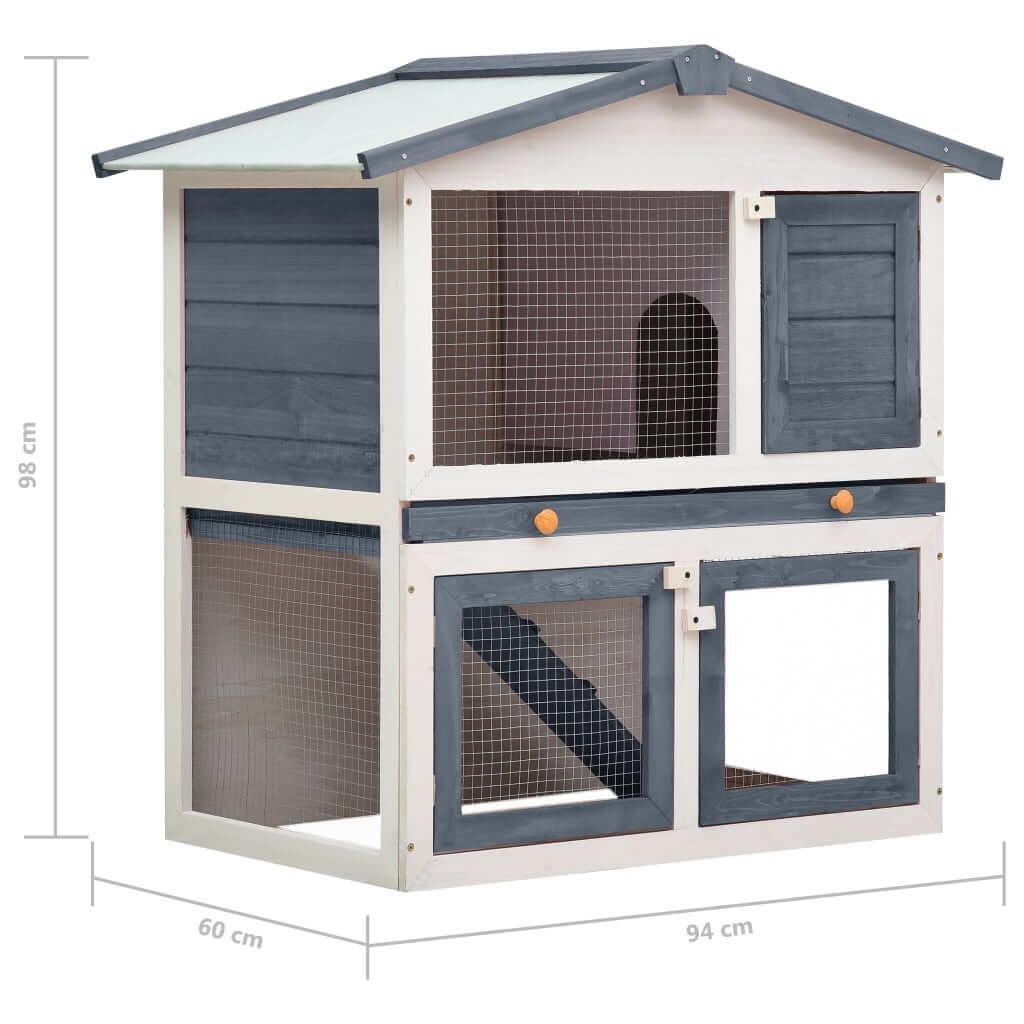 Outdoor Rabbit Hutch 3 Doors Grey Wood Product Dimension Everyday Pets