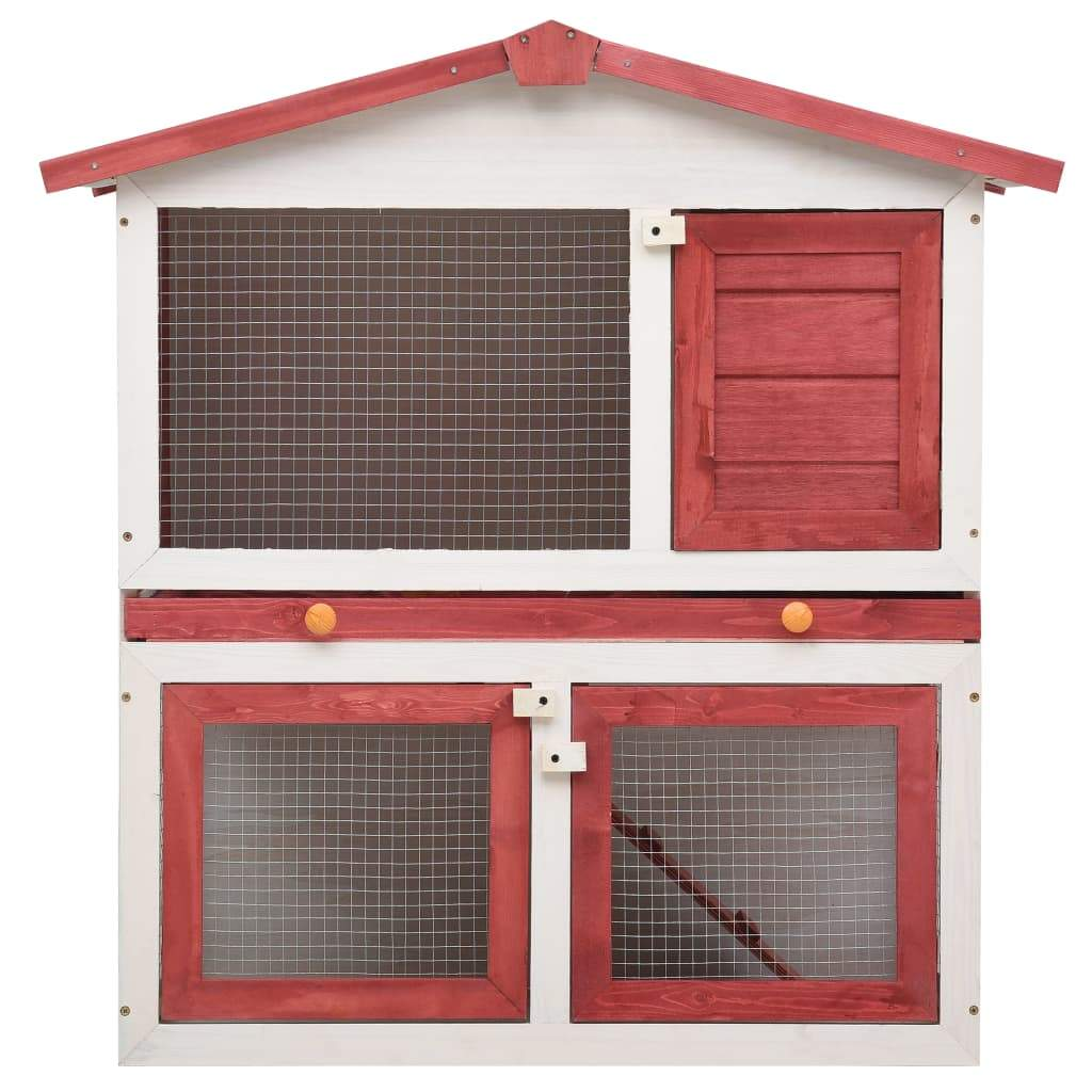 Outdoor Rabbit Hutch 3 Doors Red Wood High Quality Solid Pine Wood Frame Everyday Pets
