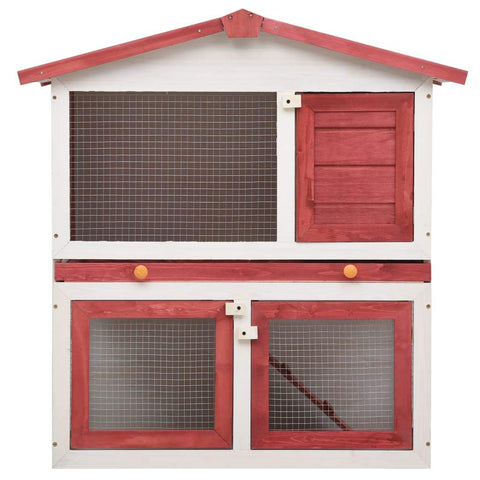 Image of Outdoor Rabbit Hutch 3 Doors Red Wood High Quality Solid Pine Wood Frame Everyday Pets