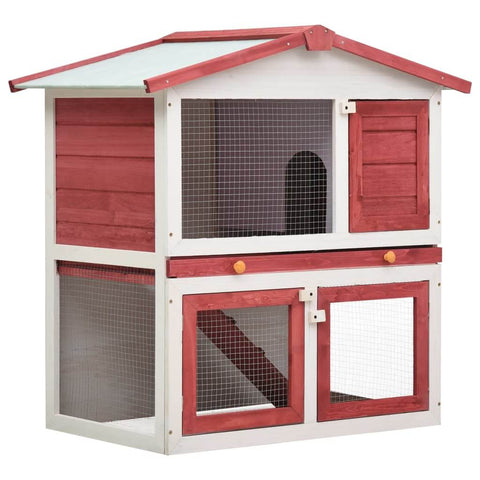 Image of Outdoor Rabbit Hutch 3 Doors Red Wood Everyday Pets