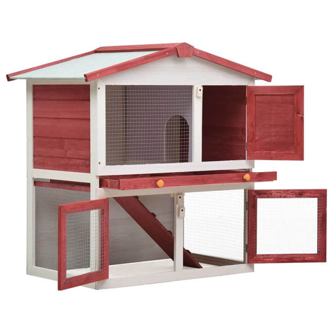 Image of Outdoor Rabbit Hutch 3 Doors Red Wood Easy Clean and Lock with Slide Bolt Latches Everyday Pets