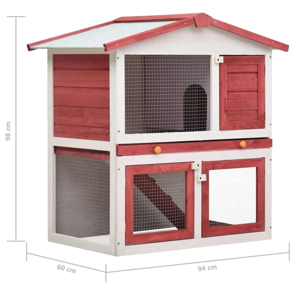 Outdoor Rabbit Hutch 3 Doors Red Wood Product Dimension Everyday Pets