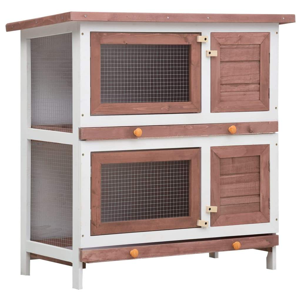 Outdoor Rabbit Hutch 4 Doors Brown Wood Everyday Pets
