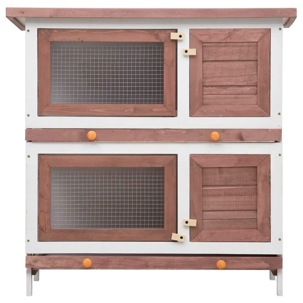 Outdoor Rabbit Hutch 4 Doors Brown Front View Everyday Pets