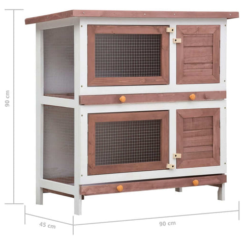 Image of Outdoor Rabbit Hutch 4 Doors Brown Measurement and Diameter Everyday Pets