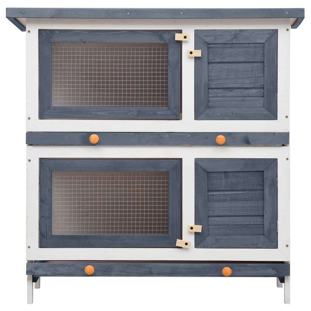 Outdoor Rabbit Hutch 4 Doors Grey Front View Everyday Pets