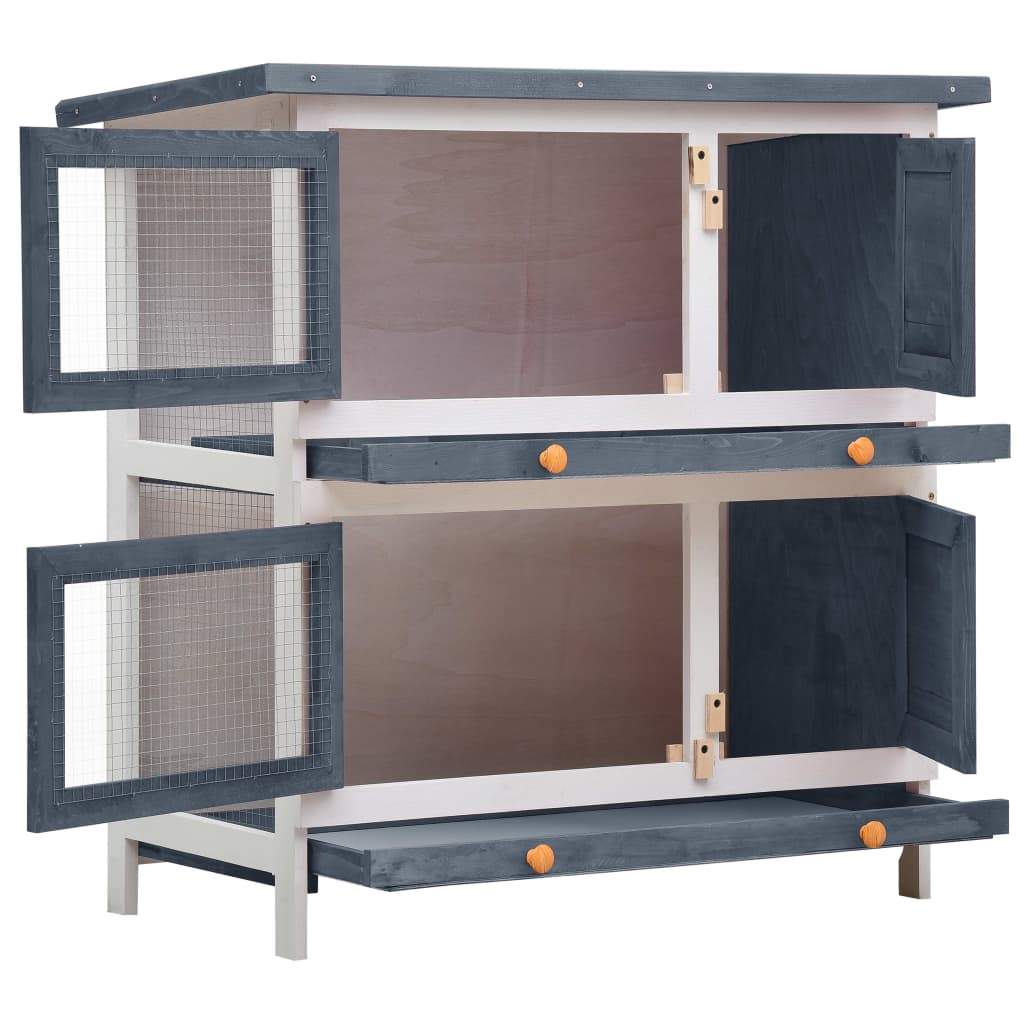 Outdoor Rabbit Hutch 4 Doors Grey Front View with Access Doors Open Everyday Pets