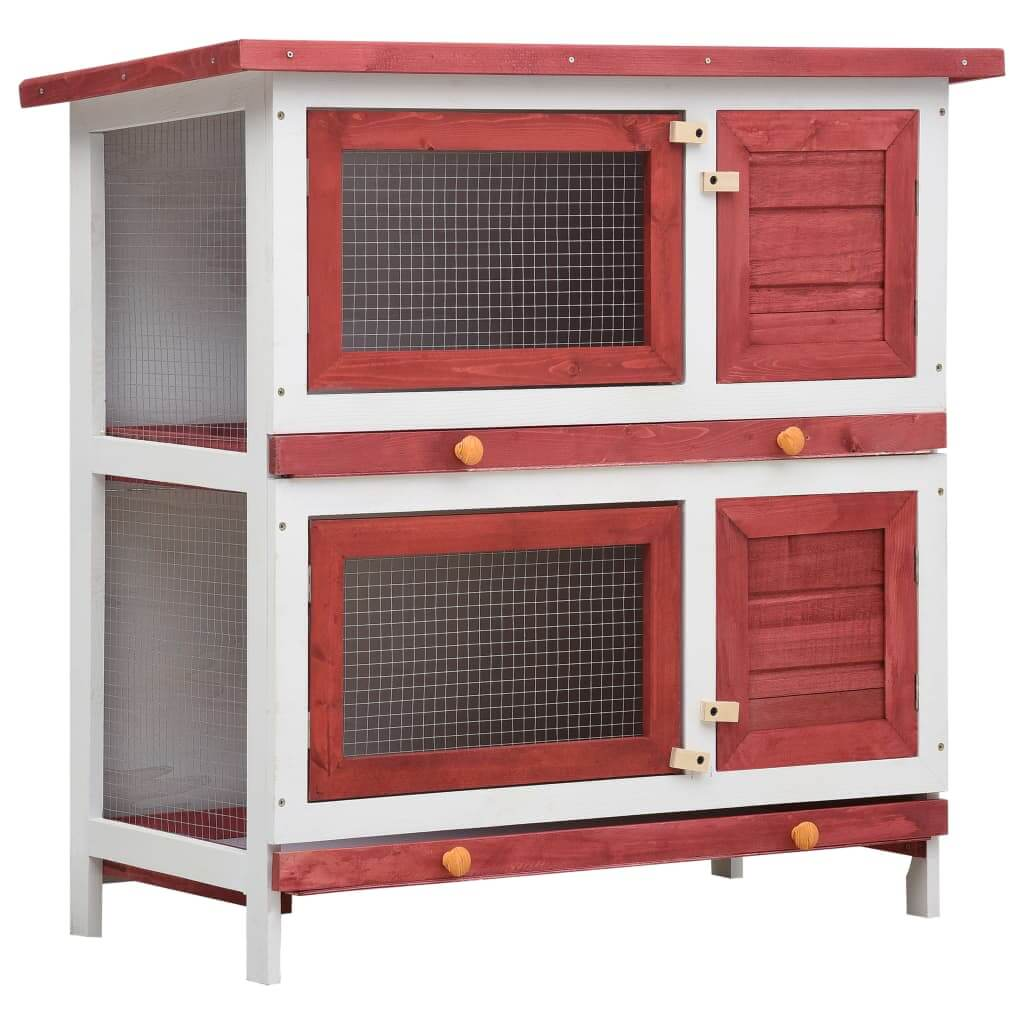 Outdoor Rabbit Hutch 4 Doors Red Wood