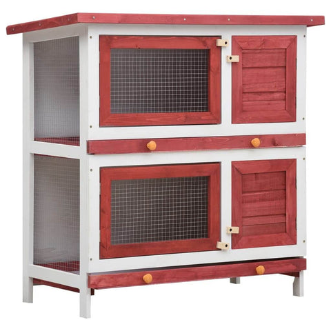 Image of Outdoor Rabbit Hutch 4 Doors Red Wood