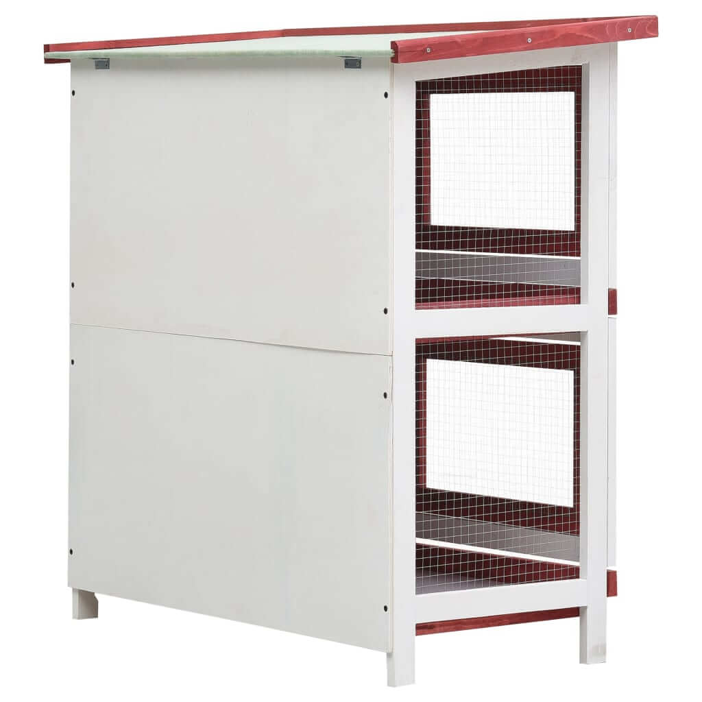Outdoor Rabbit Hutch 4 Doors Red Back View