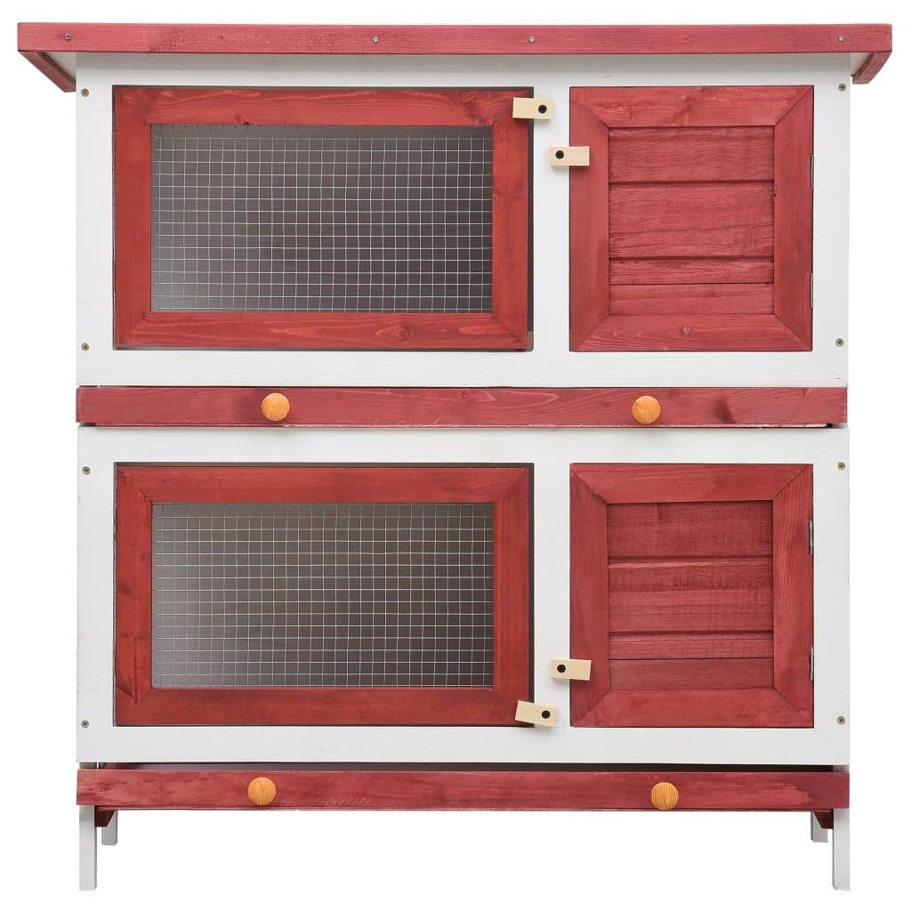 Outdoor Rabbit Hutch 4 Doors Red Front View