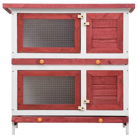 Image of Outdoor Rabbit Hutch 4 Doors Red Front View