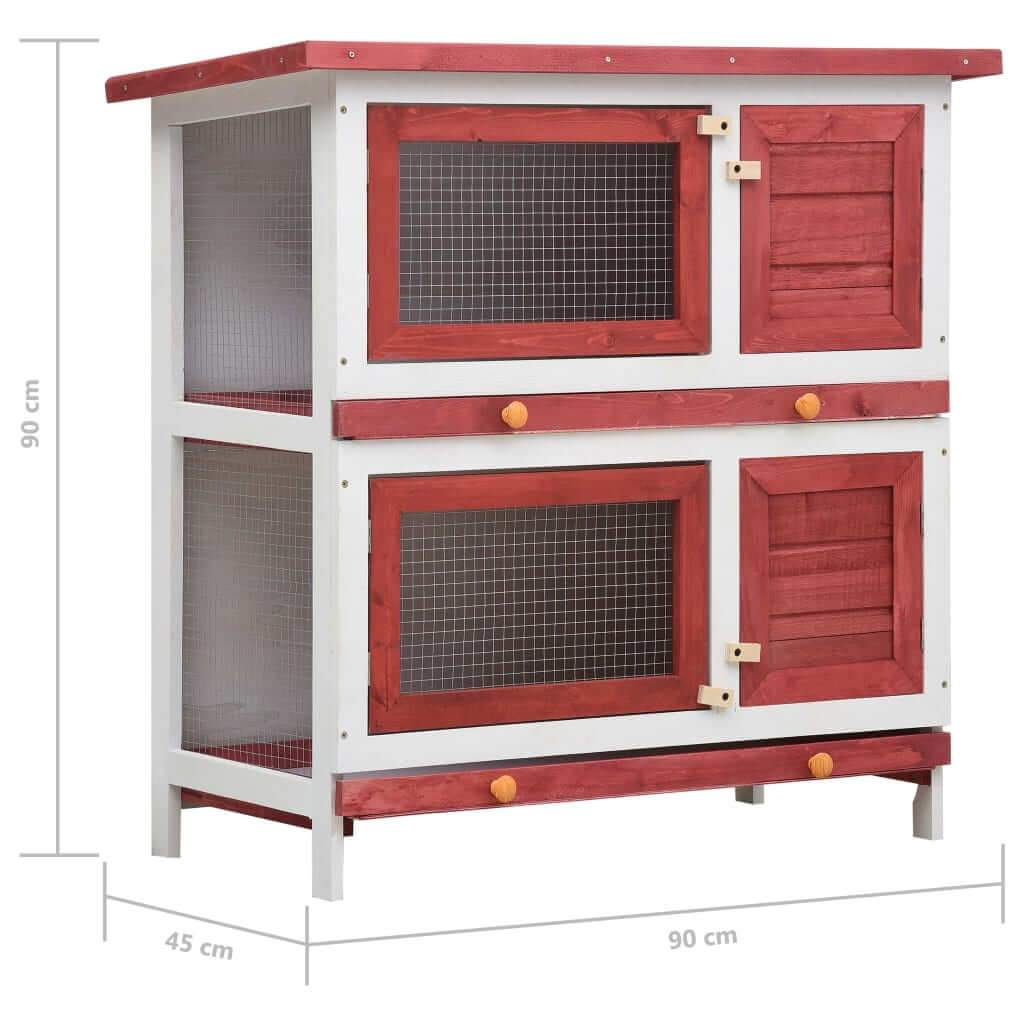 Outdoor Rabbit Hutch 4 Doors Red Measurement and Diameter