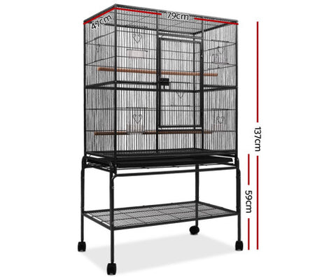 High Quality Bird Cage Non-Toxic Powder Coated Finish Bird Aviary - Black - 93 x 57 x 137cm