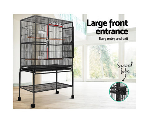 Image of High Quality Bird Cage Non-Toxic Powder Coated Finish Bird Aviary - Black - 93 x 57 x 137cm