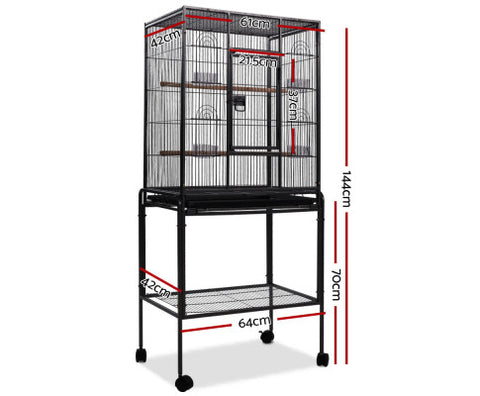 Image of i.Pet Large Bird Cage With Perch - Black