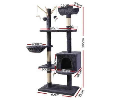 140cm Cat Scratching Post Condo with Hammock Measurement