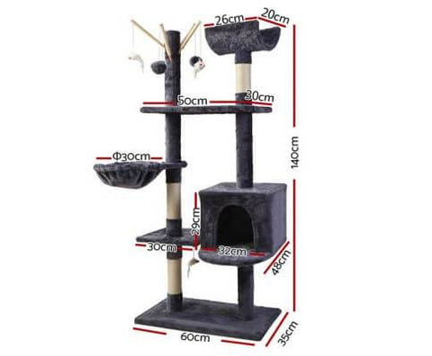 Image of 140cm Cat Scratching Post Condo with Hammock Measurement
