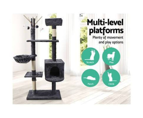 Image of 140cm Tree Eco-friendly Cat Scratching Post Gym Condo Multi Level Platform