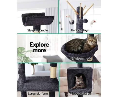 Grey Cat Scratching Post 140cm Comfortable Combo for Cat Play