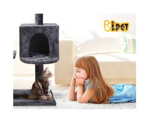 Image of i.Pet Cat Scratching Post Grey with Hammock for Cat Play