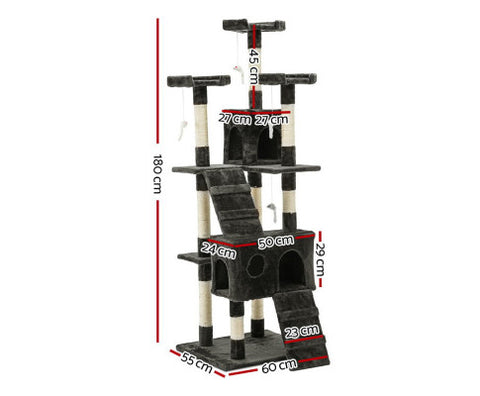 Image of i.Pet Cat Tree 180cm Trees Scratching Post Scratcher Tower Condo House Furniture Wood