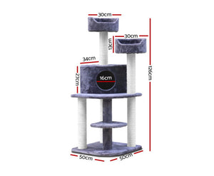 126cm Multi Level Cat Tree Scratching Post w/ Steps - Grey - 126 x 50 x 50cm
