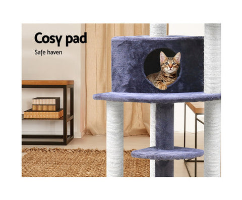 100-cm-Multi-Level-Cat-Tree-Scratching-Post-Steps-Grey-126x50x50cm-Afterpay-Zippay-Australia-Melbourne-Sydney