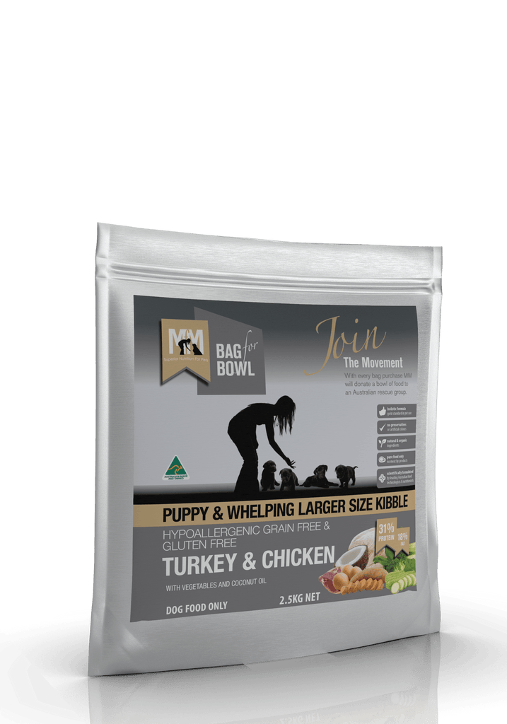 Meals For Pups Grain Free Larger Size Kibble Turkey & Chicken Dry Dog Food 2.5kg Everyday Pets