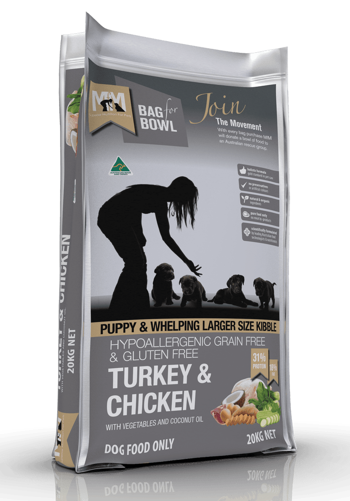 Meals For Pups Grain Free Larger Size Kibble Turkey & Chicken Dry Dog Food 20kg