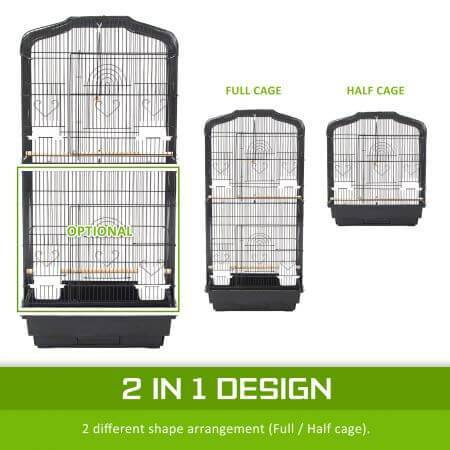 Paw Mate 2 in 1 Bird Cage VEER 2 in 1 Design 2 Differebt Shape Design - Half or Full Cage Everyday Pets