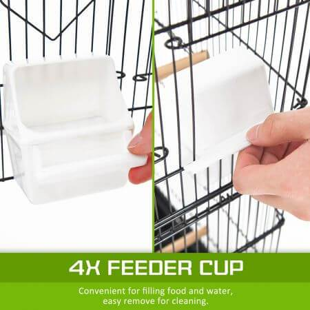 Image of Paw Mate 2in1 Bird Cage VEER with 4x Feeder Cup for Food or Water Storage Everyday Pets