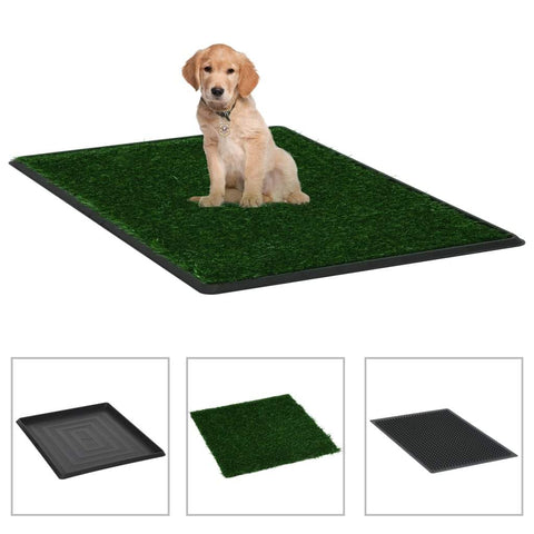 Image of Pet Toilet with Tray and Artificial Turf Green 64x51x3 cm WC