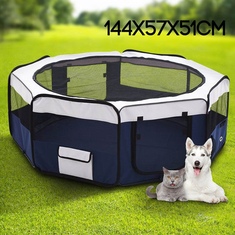 Image of Pet Enclosure Washable Pet Dog Puppy Playpen With Carrying Bag 8 Panel Steel Frame Lightweight full colored picture
