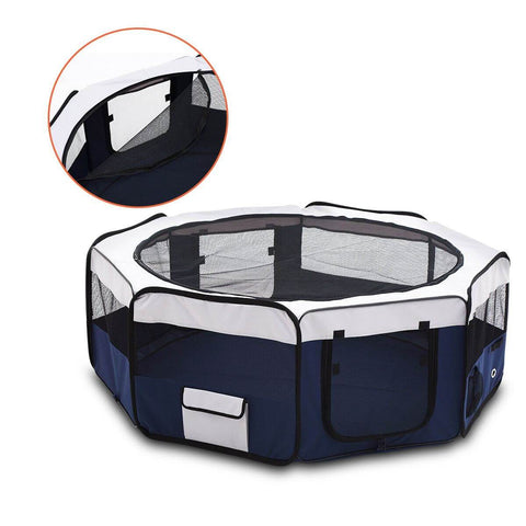 Image of Pet Enclosure Washable Pet Dog Puppy Playpen With Carrying Bag 8 Panel Steel Frame Lightweight sides