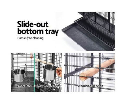 Image of Pet Bird Cage with Removable Stainless Feeders 2 Wooden Perches with Slide Out Bottom Tray