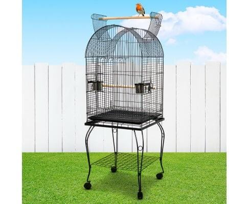 Pet Bird Cage with Stainless Steel Feeders Black
