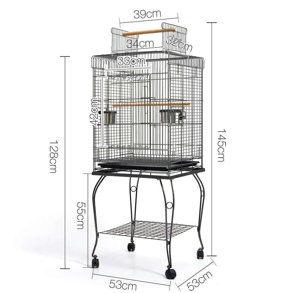 Pet Bird Cage with Stainless Steel Feeders Dimensions
