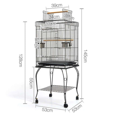 Image of Pet Bird Cage with Stainless Steel Feeders Dimensions