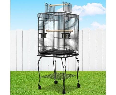 Image of Pet Bird Cage with Stainless Steel Feeders