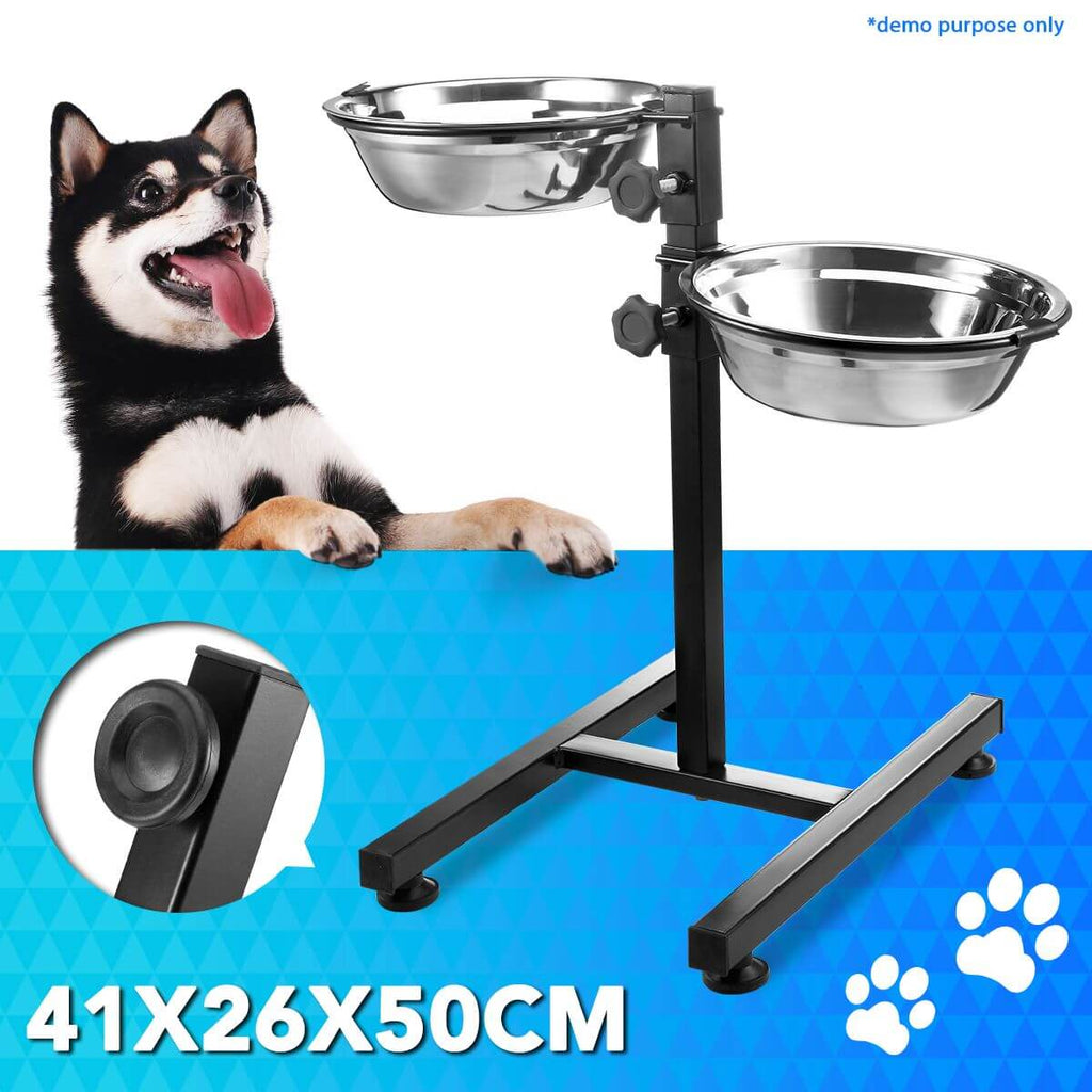 Pet Bowl Height Adjustable With Two Removable Bowls & Stand