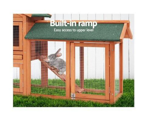 Image of Pet Cage Hutch with Built-in Foldable Ramps