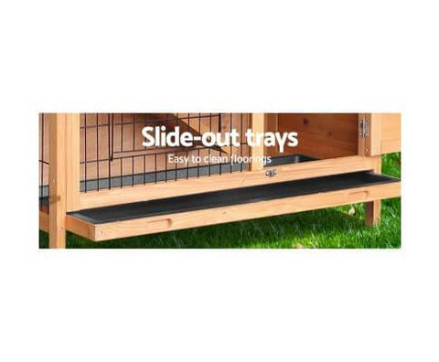 Image of Pet Hutch with 2 Slide Out Tray for Easy Cleaning