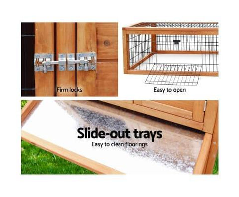 Pet Hutch with Easy Access Doors Slide Out Trays and Strong Security Lock