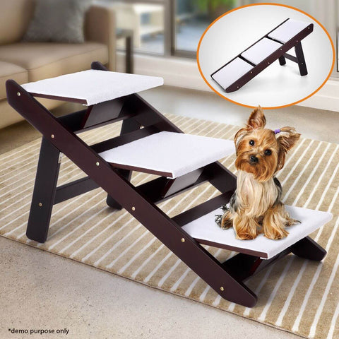 Image of Portable 3 Steps Foldable Doggy Cat Pet Dog Stairs Ramp Ladder Plush Cover