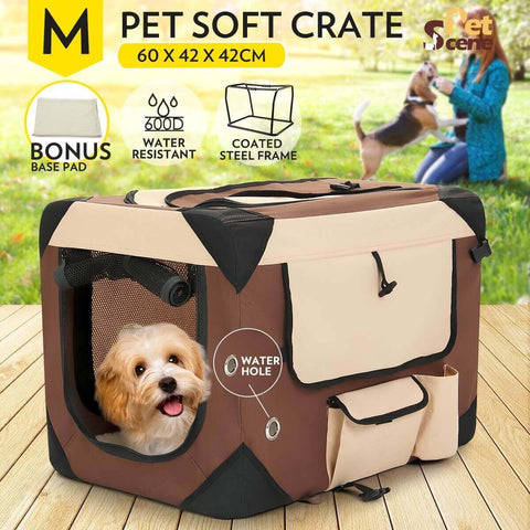 Image of Portable Foldable Soft Dog Crate-Medium-Brown 60x42x42cm