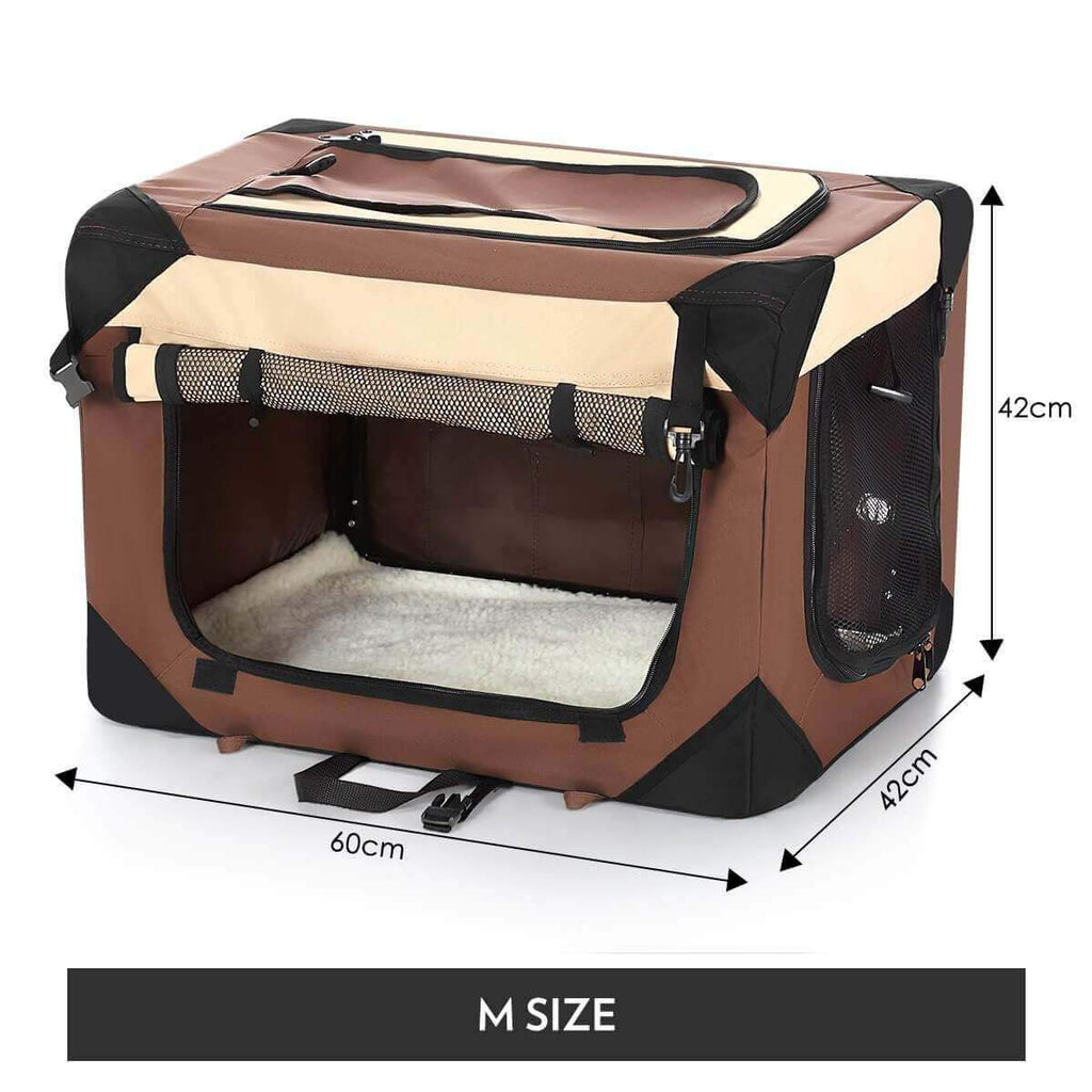 Portable Foldable Soft Dog Crate-Medium-Brown Product Dimensions
